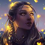 Аватар Девушка - эльф смотрит на светящихся мотыльков
