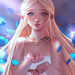 Аватар Эльфийка протягивает руки, чтобы поймать голубые лепестки, by numyumy