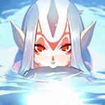 Аватар Девушка - эльф держит в зубах рыбу и крадется с нею по воде, by Kuvshinov Ilya