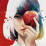 Аватар Девушка, прикрывающая половину лица яблоком