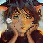 Аватар Девушка - кошка держит в руке маленький цветок ромашки