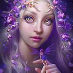 Аватар Девушка с фиолетовыми цветами на волосах держит на пальце маленькую фею, by viccolatte