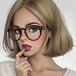 Аватар Девушка с русыми короткими волосами в очках приложила палец к губам, by ayyasap