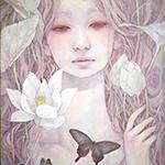 Аватар Девушка с белыми лотосами и бабочкой, by Miho Hirano