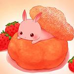 Аватар Кролик выползает из профитроля и круассана, рядом лежат ягоды клубники