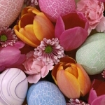 Аватар Цветные яйца, лежащие вместе с тюльпанами