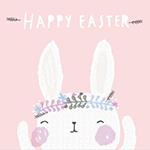 Аватар Белый кролик с венком на голове (Happy Easter / Счастливой пасхи)