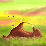 Аватар Медведь лежа на поляне нюхает цветок, автор YaPpy