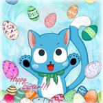 Аватар Хэппи / Happy из аниме Сказка о Хвосте феи / Хвост феи / Фейри Тейл / Fairy Tail, в окружении пасхальных яиц (Happy Easter)
