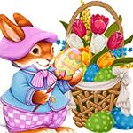 Аватар Кролик в костюме раскрашивает пасхальное яйцо, рядом стоит корзина с тюльпанами