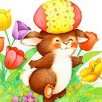Аватар Хомяк бежит по полянке с тюльпанами с яйцом на голове