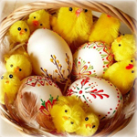 Аватар Пасхальные яйца и мягкие игрушки цыплят в лукошке