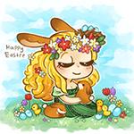 Аватар Девушка сидит на поляне держа в руках кролика (Happy Easter / Счастливой пасхи), автор Bianca Barreto