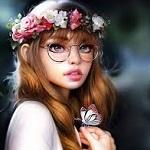 Аватар Девушка в очках и венке из цветов, с бабочкой на руке, by Rene Gorecki
