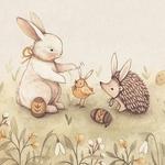 Аватар Кролик, птичка и еж на Пасху, illustration by Nina Stajner