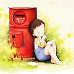 Аватар Маленькая девочка сидит у красного почтового ящика и читает письмо