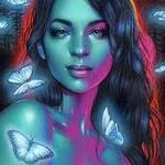Аватар Девушка с бабочками