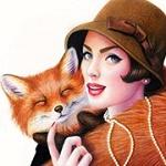 Аватар Девушка в шляпке обнимает лису