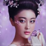 Аватар Девушка японка с украшениями на волосах и с бабочкой на руке, by Margarita Kobzareva