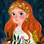 Аватар Девочка с рыжими волосами с венком из цветов, by Anna Gagirina