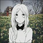 Аватар Грустная Суйрэн Шибазэки / Suiren Shibazeki, вырезанная из манги Каждый день бабочки / Hibi Chouchou, на фоне поляны с желтыми цветами