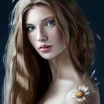 Аватар Девушка с ромашкой на плече, by vurdeM