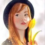 Аватар Девушка в шляпе, с желтым тюльпаном в руке, by Berghots