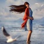 Аватар Девушка стоит в воде перед летящей чайкой