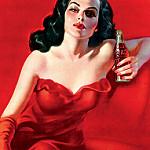Аватар Шикарная брюнетка в красном платье с бутылкой колы в руке в стиле pin-up