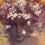 Аватар Девушка с весенними цветами на голове, by 우진 오