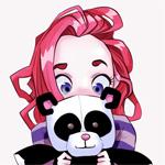 Аватар Розоволосая девочка держит в руках игрушку панды