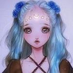 Аватар Девочка с голубыми волосами и цветами в них- Луна