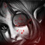 Аватар Темная эльфийка с повязкой, забрызганной кровью, на глазу