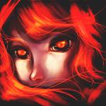 Аватар Девушка с огненными волосами и глазами