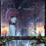 Аватар Девушка с длинными волосами стоит у окна, за которым идет дождь, by Sangrde