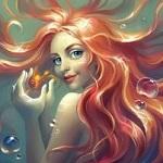 Аватар Рыжеволосая русалочка с рыбкой в руке