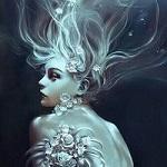 Аватар Обнаженная девушка с цветами и развевающимися волосами