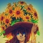 Аватар Девушка в шляпе полной цветов, by mcptato