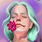 Аватар Девушка с цветком во рту