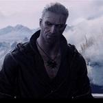 Аватар Ведьмак с пронзительным взглядом стоит на фоне снежных гор