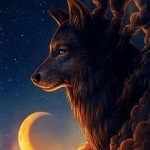 Аватар Волк в облаках на фоне месяца, by JoJoesArt