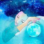 Аватар Девушка с волосами в виде ночного неба спит, держась за облачный будильник
