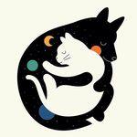 Аватар Черная собака обнимает белого кота