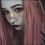 Аватар Девушка с красными глазами и пластырем на носу