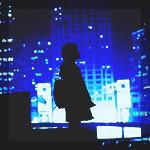 Аватар Силуэт парня на крыше на фоне ночного города