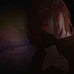 Аватар Девушка со светящимися красными глазами, с телефоном в руках, в темноте