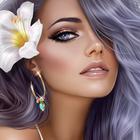 Аватар Девушка с голубыми волосами и белым цветком в них