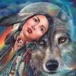 Аватар Девушка индианка с волком