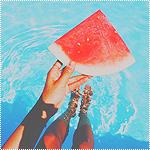 Аватар Девушка держит дольку арбуза
