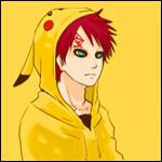 Аватар Gaara / Гаара из аниме Naruto / Наруто, одетый в толстовку в виде Pikachu / Пикачу из аниме Pokemon / Покемон